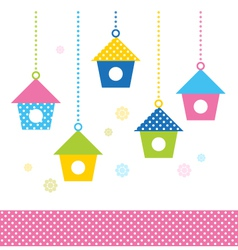Cute spring colorful bird houses set - vector