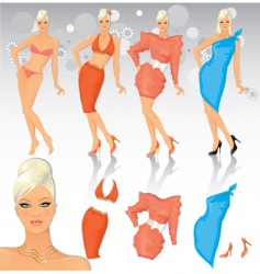 Fashion model with costume set vector
