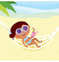 Girl lying in hammock vector