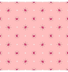 Pink hearts with rays seamless pattern vector