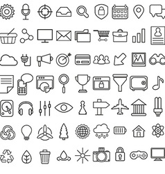 Set of linear media service icons 100 icons for vector