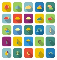 Weather color icons with long shadow vector