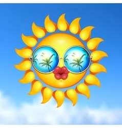 Summer sun face with sunglasses and full lips vector