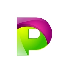P letter green and pink logo design template vector image