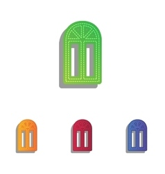 Window simple sign colorfull applique icons set vector