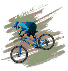 an image of a cyclist descending on a mountain vector image vector image