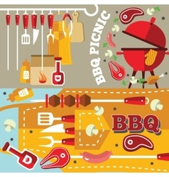 Bbq Flat Banner Set vector image vector image