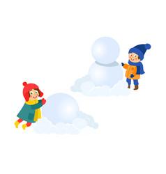 boy girl having fun making snowman isolated vector image