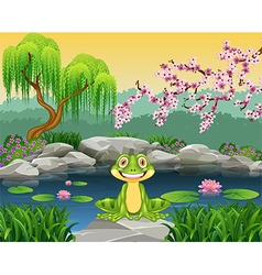 Cartoon funny frog sitting on the rock vector image vector image