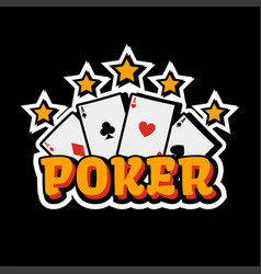 casino poker logo template gambling cards and vector image vector image