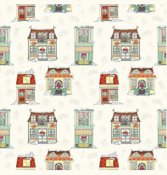 christmas and new year house seamless pattern vector image