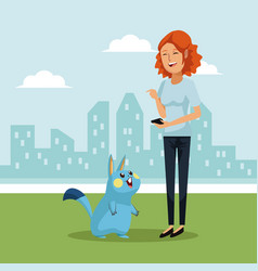 City landscape background with woman redhair and vector