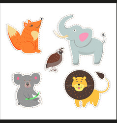 Cute animals cartoon flat stickers set vector