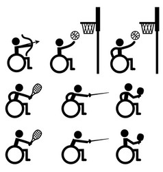 disable handicap sport icons archery basketball vector image vector image