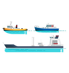 fishing boat small steamer and large cargo ship vector image