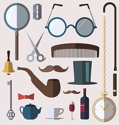 Gentlemens vintage stuff design elements set vector image
