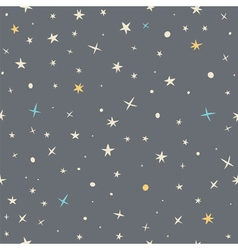 Hand drawn seamless pattern with night sky and vector image vector image