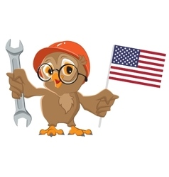 Labor Day USA Owl holding wrench and American vector image vector image