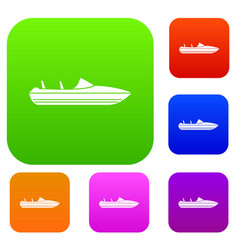 Little powerboat set collection vector