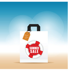 Paper bag with summer sale and best offer vector