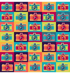 Seamless pattern in retro style with cameras vector image