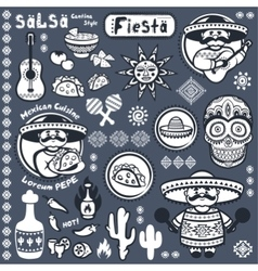 Set of Mexican symbols vector image vector image