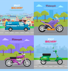 set of vehicle icons fast delivery motorcycle vector image vector image