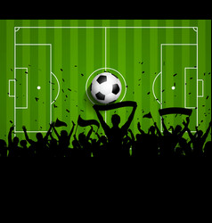 Soccer football crowd on a green pitch background vector image