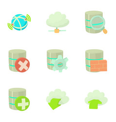 storage interface icons set cartoon style vector image vector image