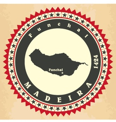 Vintage label-sticker cards of madeira vector