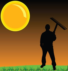 Worker on a grass vector