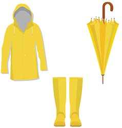 Yellow raincoat rubber boots umbrella vector image vector image