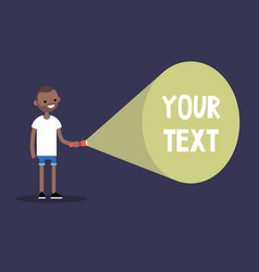 Young black man holding a flashlight your text vector