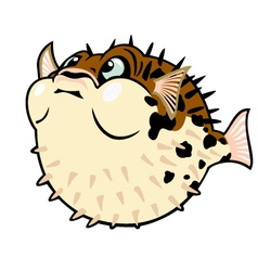 Puffer fish cartoon vector
