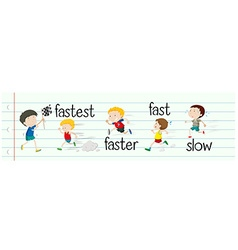 Opposite adjectives fast and slow vector image