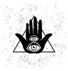 hand two eyes new vector image