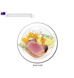 Roasted lamb legs the popular dish of australia vector