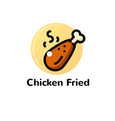 thin line chicken fried vector image