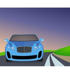 Blue sports car traveling on the road to turn vector