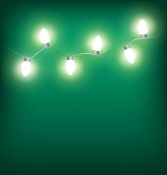 White led christmas lights garland on cyan vector
