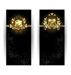 Two Banners with Shields vector image