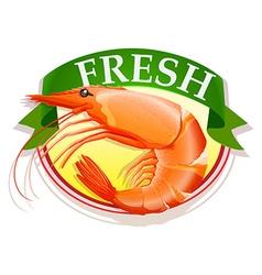 Fresh shrimp with text vector