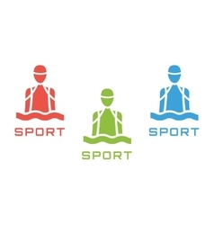 Swim sport logo icon template pool swimmer man vector