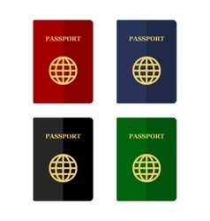 Color passports icons set in flat style vector