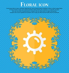 Sun Floral flat design on a blue abstract vector image