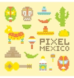 Pixel art isolated mexican objects vector