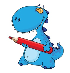 Dinosaur with a pencil vector