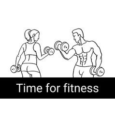 Fitness couple and fitness club concept with vector
