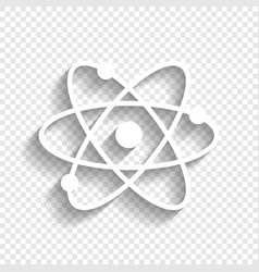 Atom sign white icon with vector