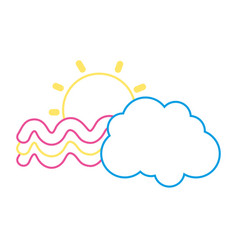 color line sun and bright rainbow with cloud in vector image